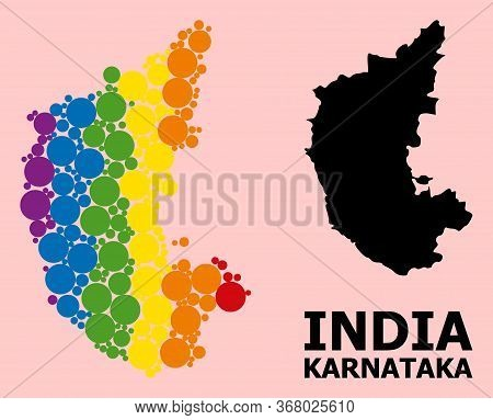 Spectrum Colored Mosaic Vector Map Of Karnataka State For Lgbt, And Black Version. Geographic Mosaic