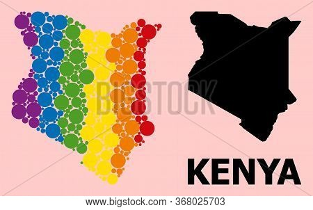Spectrum Vibrant Collage Vector Map Of Kenya For Lgbt, And Black Version. Geographic Collage Map Of