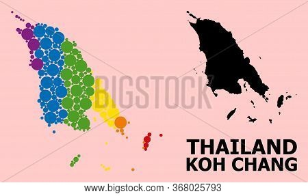 Spectrum Colored Mosaic Vector Map Of Koh Chang For Lgbt, And Black Version. Geographic Mosaic Map O