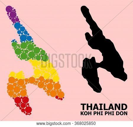 Spectrum Colored Mosaic Vector Map Of Koh Phi Don For Lgbt, And Black Version. Geographic Mosaic Map