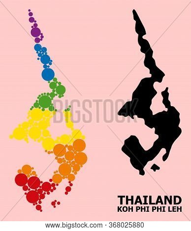 Spectrum Colored Mosaic Vector Map Of Koh Phi Leh For Lgbt, And Black Version. Geographic Concept Ma