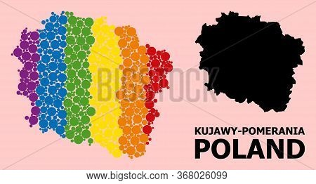 Rainbow Colored Collage Vector Map Of Kujawy-pomerania Province For Lgbt, And Black Version. Geograp