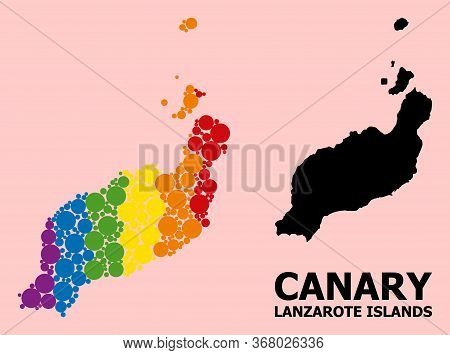 Rainbow Vibrant Mosaic Vector Map Of Lanzarote Islands For Lgbt, And Black Version. Geographic Mosai
