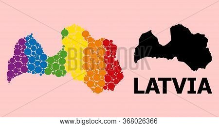 Rainbow Colored Pattern Vector Map Of Latvia For Lgbt, And Black Version. Geographic Concept Map Of