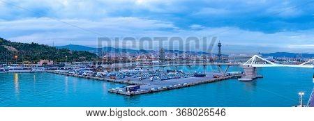 Barcelona, Spain - November 08 2018: Panorama Of Porta D\'europa Bridge Over Barcelona Port And Whar