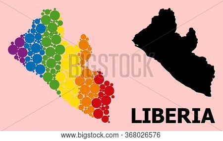 Spectrum Vibrant Mosaic Vector Map Of Liberia For Lgbt, And Black Version. Geographic Mosaic Map Of
