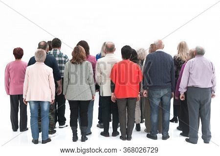 Rear view of a casual group of elderly people isolated over a white background