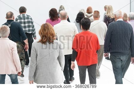 People walking away - isolated over a white background