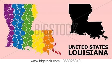 Spectrum Colored Collage Vector Map Of Louisiana State For Lgbt, And Black Version. Geographic Conce