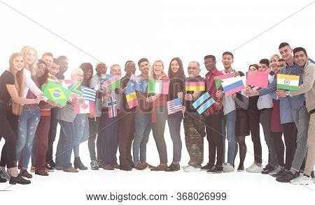 Group of multiethnic business people standing in office lined u