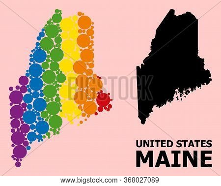 Spectrum Vibrant Collage Vector Map Of Maine State For Lgbt, And Black Version. Geographic Concept M