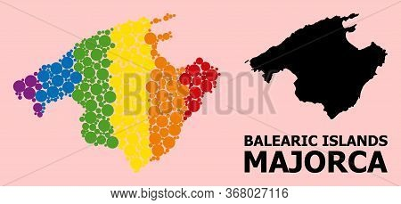 Rainbow Colored Mosaic Vector Map Of Majorca For Lgbt, And Black Version. Geographic Concept Map Of
