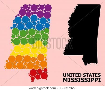 Rainbow Vibrant Collage Vector Map Of Mississippi State For Lgbt, And Black Version. Geographic Conc
