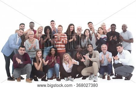 large international group of happy people applauding together