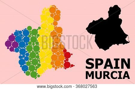 Spectrum Vibrant Collage Vector Map Of Murcia Province For Lgbt, And Black Version. Geographic Colla