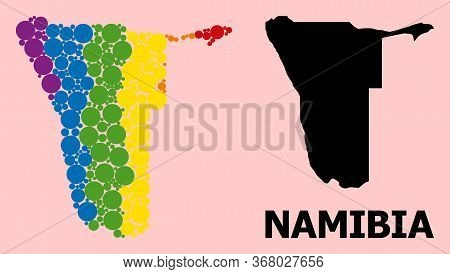 Rainbow Vibrant Mosaic Vector Map Of Namibia For Lgbt, And Black Version. Geographic Mosaic Map Of N