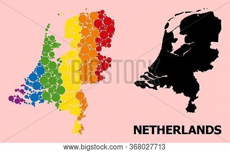 Rainbow Vibrant Collage Vector Map Of Netherlands For Lgbt, And Black Version. Geographic Concept Ma