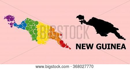 Rainbow Vibrant Collage Vector Map Of New Guinea Island For Lgbt, And Black Version. Geographic Coll