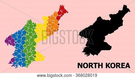 Rainbow Colored Mosaic Vector Map Of North Korea For Lgbt, And Black Version. Geographic Mosaic Map