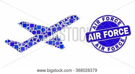 Geometric Airplane Takeoff Mosaic Pictogram And Air Force Watermark. Blue Vector Rounded Scratched W