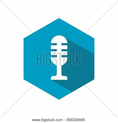 Microphone Icon Flat, Simple Mic Symbol, Podcast Logo