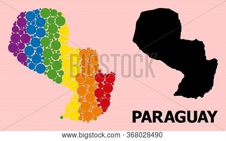 Spectrum Vibrant Collage Vector Map Of Paraguay For Lgbt, And Black Version. Geographic Concept Map