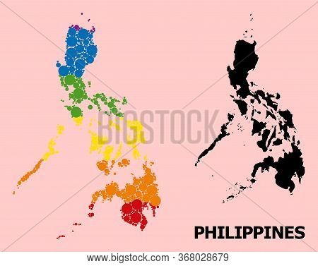 Spectrum Colored Mosaic Vector Map Of Philippines For Lgbt, And Black Version. Geographic Mosaic Map