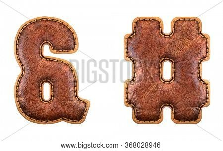 Set of symbols ampersand and hash made of leather. 3D render font with skin texture isolated on white background. 3d rendering