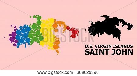 Spectrum Colored Mosaic Vector Map Of Saint John Island For Lgbt, And Black Version. Geographic Conc