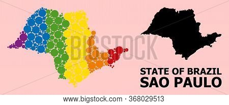 Rainbow Colored Pattern Vector Map Of Sao Paulo State For Lgbt, And Black Version. Geographic Concep