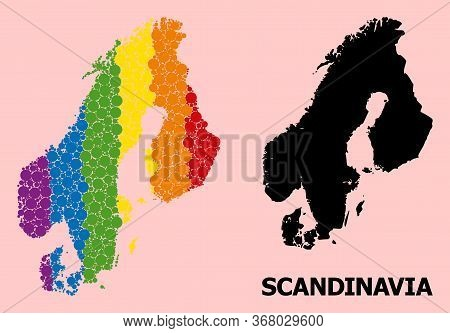 Rainbow Vibrant Mosaic Vector Map Of Scandinavia For Lgbt, And Black Version. Geographic Mosaic Map