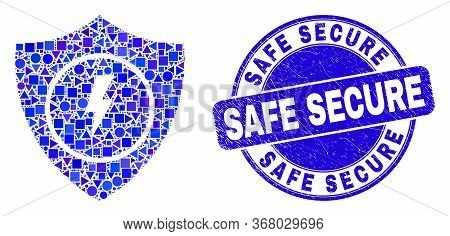 Geometric Electric Shield Mosaic Pictogram And Safe Secure Stamp. Blue Vector Round Distress Stamp W