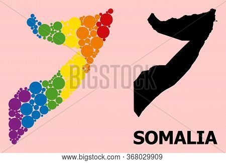 Rainbow Vibrant Pattern Vector Map Of Somalia For Lgbt, And Black Version. Geographic Collage Map Of