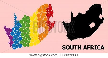 Rainbow Colored Collage Vector Map Of South African Republic For Lgbt, And Black Version. Geographic