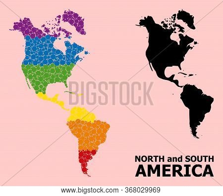 Rainbow Vibrant Collage Vector Map Of South And North America For Lgbt, And Black Version. Geographi