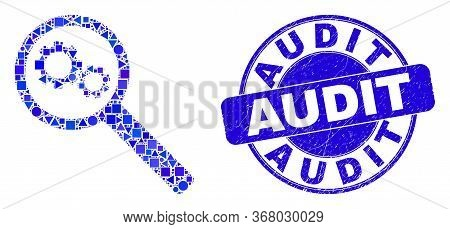Geometric Gears Audit Mosaic Pictogram And Audit Stamp. Blue Vector Round Textured Seal Stamp With A