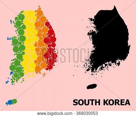 Rainbow Colored Mosaic Vector Map Of South Korea For Lgbt, And Black Version. Geographic Concept Map
