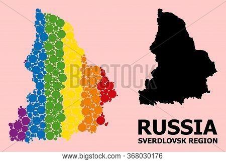 Spectrum Vibrant Collage Vector Map Of Sverdlovsk Region For Lgbt, And Black Version. Geographic Col