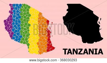 Spectrum Colored Collage Vector Map Of Tanzania For Lgbt, And Black Version. Geographic Concept Map