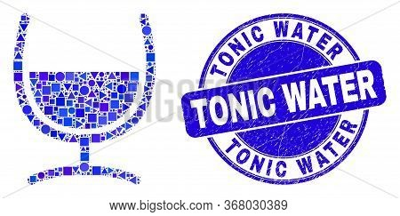 Geometric Mixture Glass Mosaic Pictogram And Tonic Water Seal. Blue Vector Round Scratched Seal With