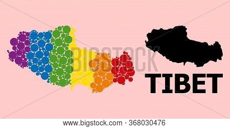 Rainbow Colored Mosaic Vector Map Of Tibet For Lgbt, And Black Version. Geographic Mosaic Map Of Tib