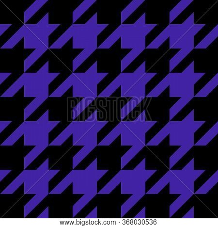 Goose Foot. Pattern Of Crows Feet In Black And Violet Cage. Glen Plaid. Houndstooth Tartan Tweed. Do