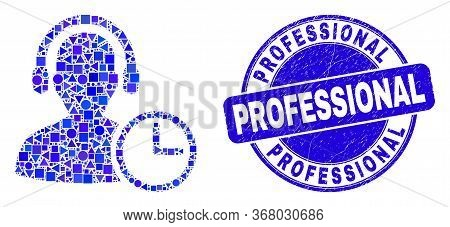 Geometric Operator Time Mosaic Icon And Professional Stamp. Blue Vector Round Grunge Seal Stamp With