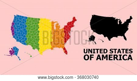 Rainbow Colored Mosaic Vector Map Of Usa Territories For Lgbt, And Black Version. Geographic Mosaic