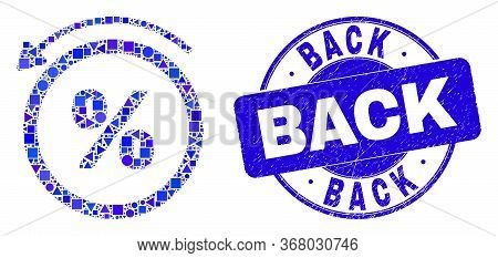 Geometric Percent Back Mosaic Pictogram And Back Stamp. Blue Vector Round Textured Seal Stamp With B