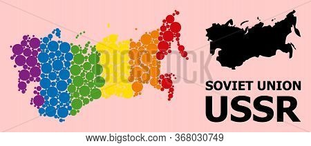 Spectrum Vibrant Collage Vector Map Of Ussr For Lgbt, And Black Version. Geographic Collage Map Of U