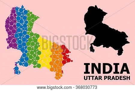 Rainbow Vibrant Mosaic Vector Map Of Uttar Pradesh State For Lgbt, And Black Version. Geographic Mos