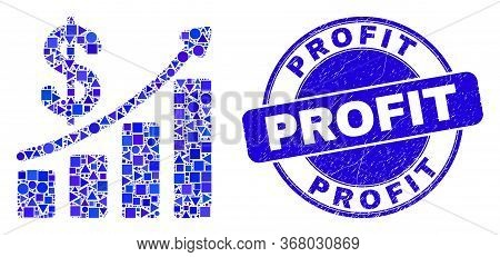 Geometric Profit Up Trend Chart Mosaic Pictogram And Profit Watermark. Blue Vector Rounded Scratched