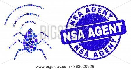 Geometric Radio Bug Mosaic Icon And Nsa Agent Seal Stamp. Blue Vector Round Grunge Stamp With Nsa Ag