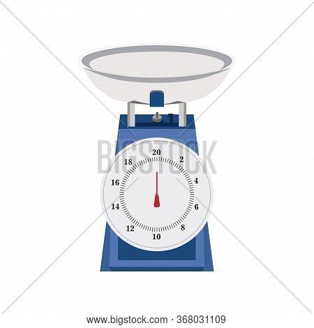 Weighing Scale Analog Cartoon Illustration, Isolated On White Background